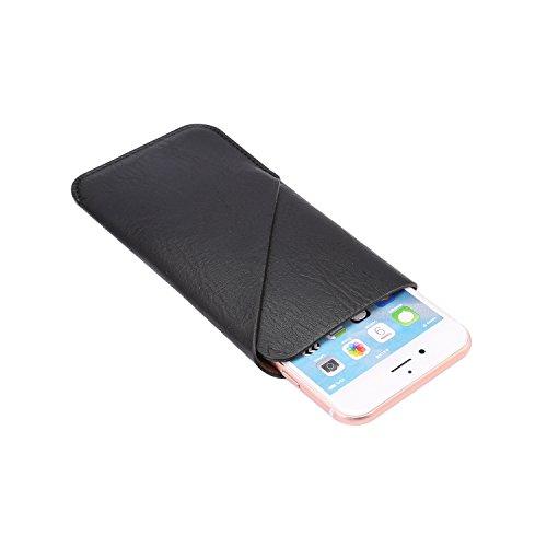 Pelle sintetica in pelle per iPhone 8 Plus, iPhone 7 Plus, iPhone 6 Plus e 6S Plus Borsa per cellulari ultrasottile in PU, borsa a doppia tasca Smart Phone Pacchetto (5.7-Pollicei, Marrone) Nero