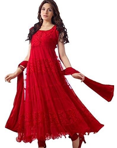 Active Feel Free Life Womens Brasso & Net Salwar Dress Material (Active16 _Red _Medium)