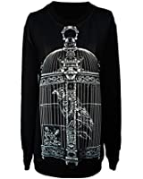 Jiayiqi Womens Funny Printing Black Pullover Art Pattern Loose Long Sweatshirt