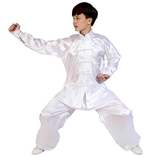 BOZEVON Unisex Kinder Erwachsene Langarm Kampfsport Tai Chi Anzug Kung Fu Darbietungen Tanzkostüme, Weiß