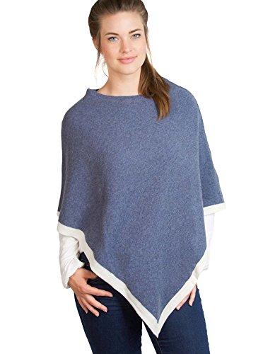 Design élégant et de haute qualité (ponchopullover cape poncho pour femme avec des couleurs fraîches de printemps (bleu, rose, gris, noir), one size. superbe veste pull et alternative bleu jeans