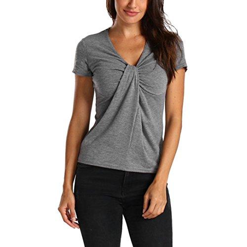 OSYARD Damen Solide Kurzarm Krawatte Design Tops Bluse T-Shirt(EU 40/M, Grau) (Brusttasche-krawatte)