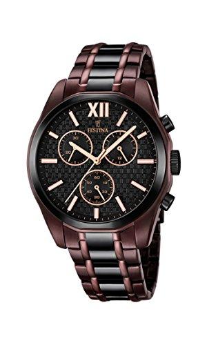 Festina – Reloj de cuarzo para hombre con dial negro, cronógrafo y pulsera chapada de acero inoxidable de dos tonos F16859/1.
