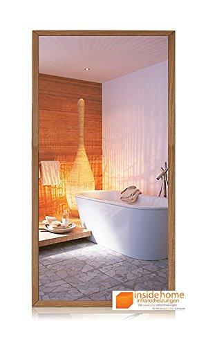 Infrarotheizung Spiegel mit Holz Rahmen in Eiche - Spiegelheizung mit Rahmen, 700 Watt - 120 x 60 x 3 cm