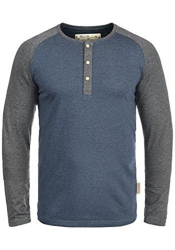 Indicode Winston Herren Longsleeve Langarmshirt Shirt Mit Grandad-Ausschnitt, Größe:L, Farbe:Navy Mix (420) -