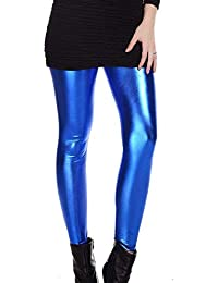 7625d7dd551c8 HX fashion Damen Shiny Leggings Disco Stretch Skinny Hosen Classic Wet Look  80Er Jahre Leggings Metallic