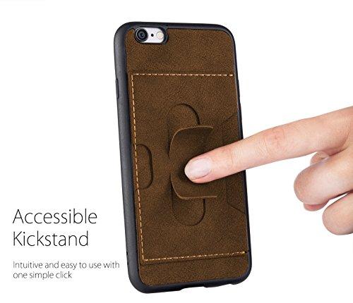 MyGadget TPU Silikon Hülle für - Apple iPhone 6 / 6s - ultra dünn (1 mm) inkl. Staubschutz Gummi Schutzhülle Cover Crystal Case Silikonhülle in Grau Kunstleder Braun