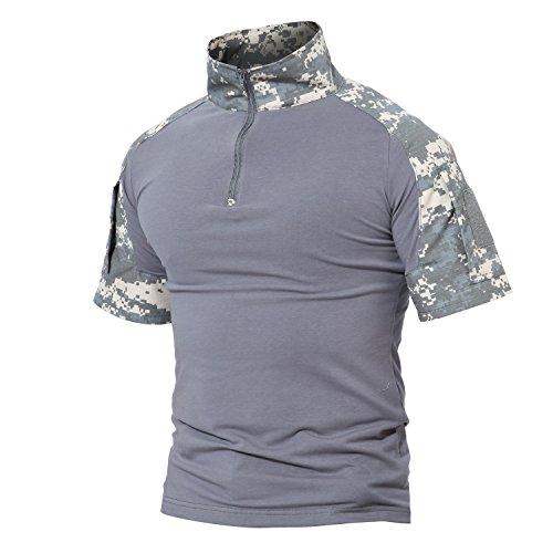 Magcomsen Tactical Airsoft Camo Combat T Shirt Kurzarm mit Rei?verschluss (Uniform Camo Bdu)