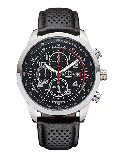 Sailor Herren-Armbanduhr Chronograph Edition, Modell Sydney, Analog Quarz mit Lederarmband, schwarz SL201-1001