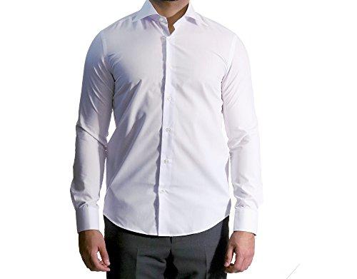 MUGA Homme Chemise à manches longues, cintrée Blanc