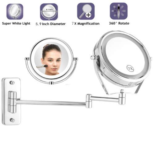Doppelseitiger Kosmetikspiegel zur Wandmontage 360°Drehbarer Schminkspiegel mit LED Beleuchtung und 7xFach- Vergrößerungsspiegel Badezimmer Klappbarer Makeup-Spiegel zum Rasieren und Schminken (1x:7x) - Doppelseitige, Beleuchtete Make-up-spiegel