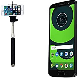 K-S-Trade® per Motorola Moto G6 Bastone Selfie Selfiestick Asta Autoritratto telescopica Fotografico Monopiede Selfie Stick per Motorola Moto G6 Nero
