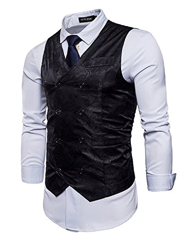 STTLZMC Elegante Herren Weste Formal Paisley Slim Fit Retro Stil blazer,Schwarz,l