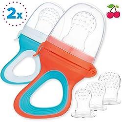 2 Tétines Grignoteuses Bébé et Tout-Petit + 6 tétines en silicone medical en 3 tailles - sans BPA - Anneau dentition