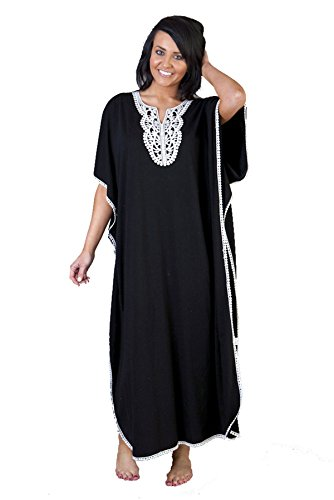 Womens/Ladies Nightwear/Sleepwear Embroidered Kaftan, One Size [Black]