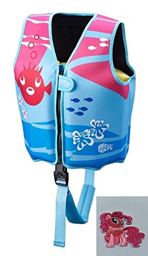 Erlebe Wasser Schwimmweste Beco 9639 Sealife Weste Gr. M 3-6 Jahre Pink inkl. Patches Pferd Bügelbild