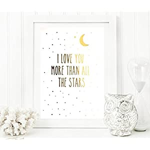 Poster Gold o. Silber I love you...