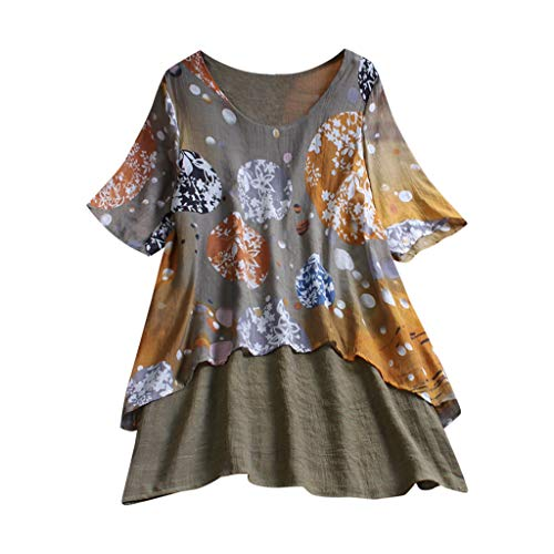 CAOQAOO Lose Bluse Langarmshirts Sweatshirt Damen BeiläUfiges Boho Plus GrößE Lose Leinen-Druck-Schwingen-Dame Long Tops Shirt Bluse