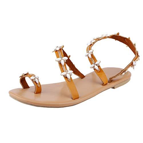 Tohole Sommer Elegante Boho Vintage Damen Frauen Mode Sandalen Sommer Schuhe Party Sexy Perle Flache Unterseite Clip Toe Flip Flop Zehentrenner Schuhe Sommerschuhe (weiß,40 EU)