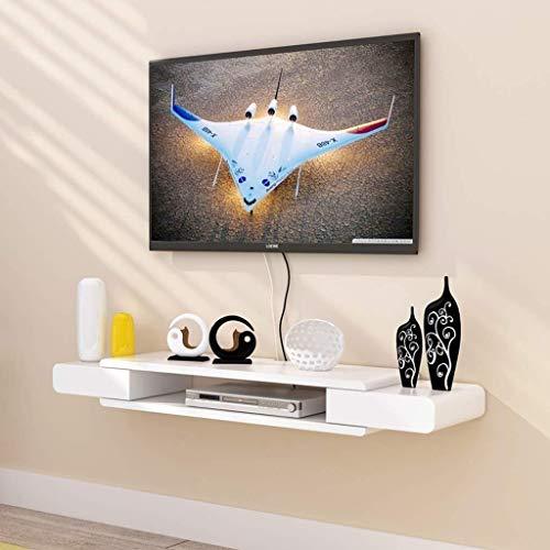 Weiße Konsole Schrank (MXK Wandhalterung TV-Schrank TV-Ständer Set-Top-Box-Regal TV-Konsole Aufbewahrungseinheit Organizer DVD-Rack-Kabel Box Weiß Floating Shelf (Size : 90cm))