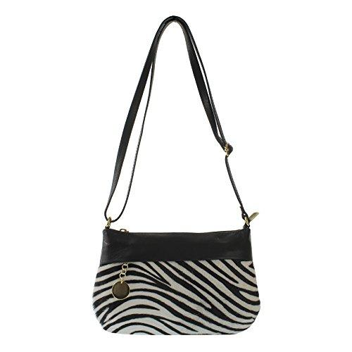 CTM Petit sac , les partis de Pochette Femme en Cavallino , cuir fabriqué en Italie avec bandoulière réglable 23x14x4 cm