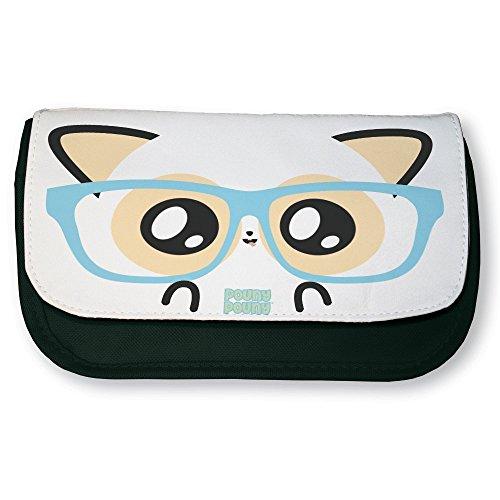 Trousse noire de maquillage ou d'école Pouny Pouny face de geek et lunette de nerd chibi et kawaii - Fabriqué en France - Licence officielle Pouny Pouny - Chamalow shop