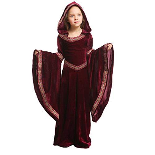 Mädchen Europäische Kostüm - AIYA Halloween weinrot Vampir Kinderkleidung Mädchen Party COS Performance Performance Kleidung europäischen mittelalterlichen Kostüm