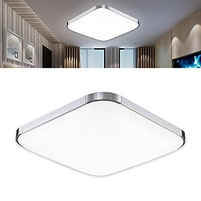 12W LED Ceiling Light 30x30cm Ultra-thin Modern Silver Cool White(6000K-6500K) Super Bright Lighting for Living Room Bathroom Bedroom Dining Room - cheap UK light shop.