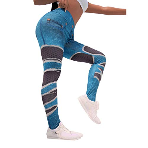 Hibote Mujeres Agujero Jeans Imprimir Leggings Sexy Slim Fitness Workout Yoga Yoga Casual Lápiz Leggings