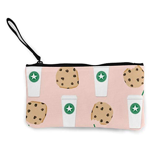 Coffee and Cookies Multifunctional Portable Canvas Coin Purse Phone Pouch Cosmetic Bag,Zippered Wristlets Bag