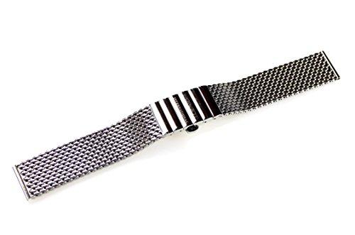 POLJOT International Uhrenarmband Metall 18mm Edelstahl Milanaise-Band Länge 16cm gerader Anstoß Wat