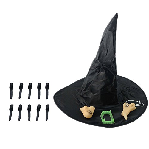 e Halloween Hexe Kostüm Hut Lange Fingernägel Hülse Falsche Nase Chin Zahnersatz Make up Supplies Requisiten Cosplay Dekoration (Erstaunlich, Schminken Für Halloween)