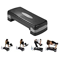 Piyuda Adjustable Aerobic Stepper Platform Exercise/Workout Step with Risers