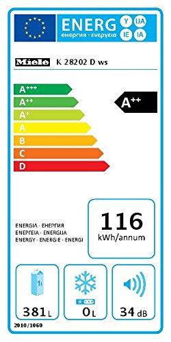 Miele K 28202 D ws Kühlschrank / Energieeffizienz A++ / 185 cm Höhe / 116 kWh / Optimale und wartungsfreie Ausleuchtung…