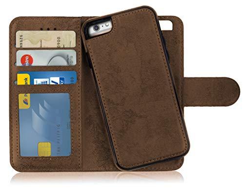 MyGadget Flip Case mit Back Cover [2 in 1] Hülle für Apple iPhone 6+ 6s Plus - Magnetische PU Leder Klapphülle Kartenfach Schutzhülle Wallet - Braun Apple Iphone Magnet Flip Case