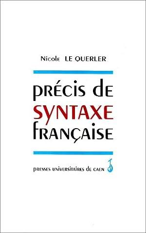 Précis de syntaxe française