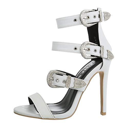 Ital-Design Damenschuhe Sandalen & Sandaletten High Heel Sandaletten Synthetik Weiß Gr. 39