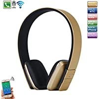 iPhone 7 Plus Headphones, TechCode New sports Running Headset Wireless Stereo Bluetooth Headphone Adjustable Head Type 4.0 Bluetooth Earphone Mic for iPhone 7, 7 Plus, iPhone 8, 8 Plus, iPhone X, Samsung Galaxy Note 8, S7 Edge,Tablet PC/Other Bluetooth Moblie Phone -Gold