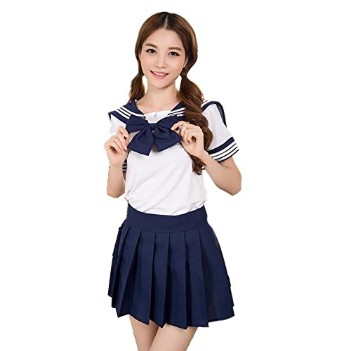 Colorfulworld Schuluniform Schulmädchen Kostüm Sailor Anime Cosplay School Uniform Fasching costume für Erwachsene (M, dark (Für Cosplay Kostüme Frauen Anime)