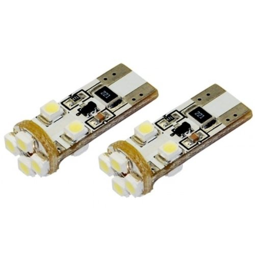 Akhan-Tuning T10C8W Can Bus Ampoule T10 W5W Lumière blanche blanc 12 V Socle en verre avec 8 LED SMD