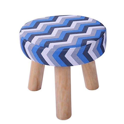 Xuan - Worth Having Bleu Gris Rayures À Trois Pattes Tabouret Ronde Coton Lin Tissu Chaussures Chaussures Lavable Ménage (28 * 28 * 25 cm)