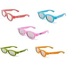 Pack mixto de 5 pares de gafas 3D para niños niños Polorized para uso de TV y cine RealD
