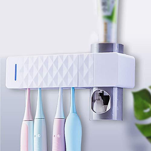 UKE Antibacteria UV Zahnbürsten-Sterilisator, Zahnbürsten-Desinfektionsmittel-Halter-automatischer Zahnpastaspender mit Aufkleber für Familien-Badezimmer - Familie Zahnbürste Sanitizer