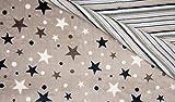 Javi Flanell Fleece Doubleface Sterne Streifen beige grau Kuschelfleece 1 Meter