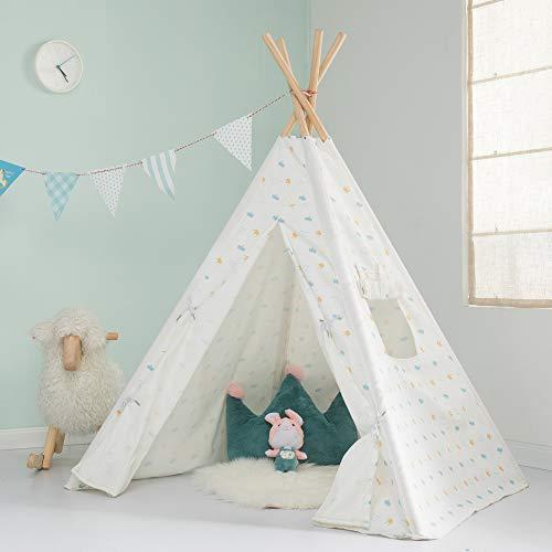 JOLIE VALLÉE TOYS & HOME Tipi Zelt für Kinder Spielzelt Kinderzimmer Weiß Kinderzelt Drinnen Draußen Baumwolle Indianerzelt Faltbar & Tragbar