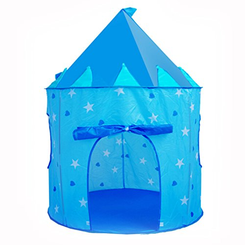 GbaoY Prince or Princess Palace Castle Children Play Tent House Indoor or Outdoor Garden Playhouse (Light Blue Play Tent)