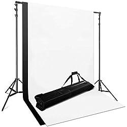 PHOTO MASTER Kit Toile de Fond Studio Photo 2 * 2x3m Support réglable + 2 * 1.8 x 2.8 m Fond Tissu en Pur Coton Blanc Noir + 1* Sac de Transport pour Photographie de Studio