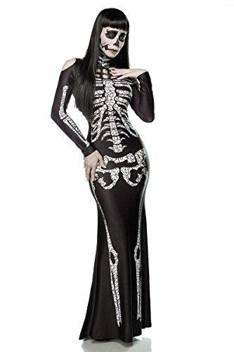 Skelett Cut Kostüm Out - Skeleton Lady Kostüm - Hochwertiges Maxikleid mit Skelett-Print - Halloween Fasching Gr. XS - M (80003)