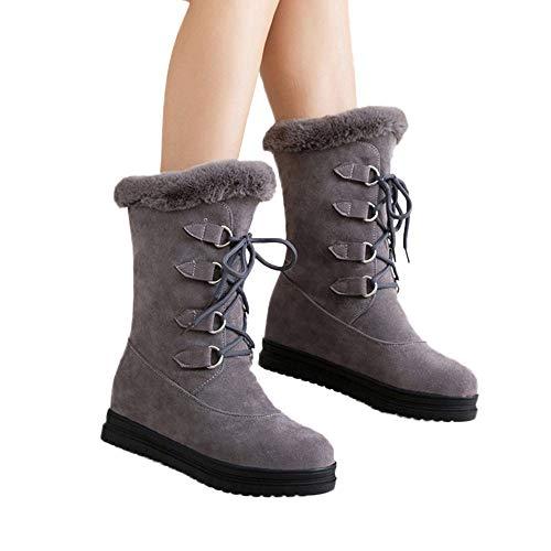 TianWlio Frauen Herbst Winter Stiefel Schuhe Stiefeletten Boots Stiefel Mode Retro Elastische Kraft Spitze Zehe Schuhe High Heel Short Boots Grau 37