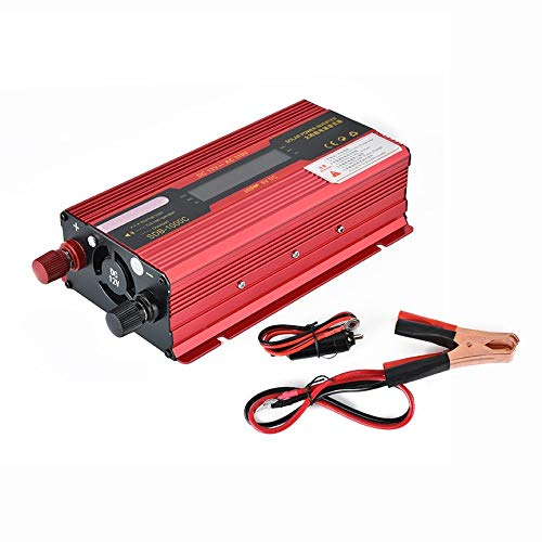 VCB Tragbares 1000W Solar Power Auto Wechselrichter LCD Display 12V-110V Netzteil - rot -